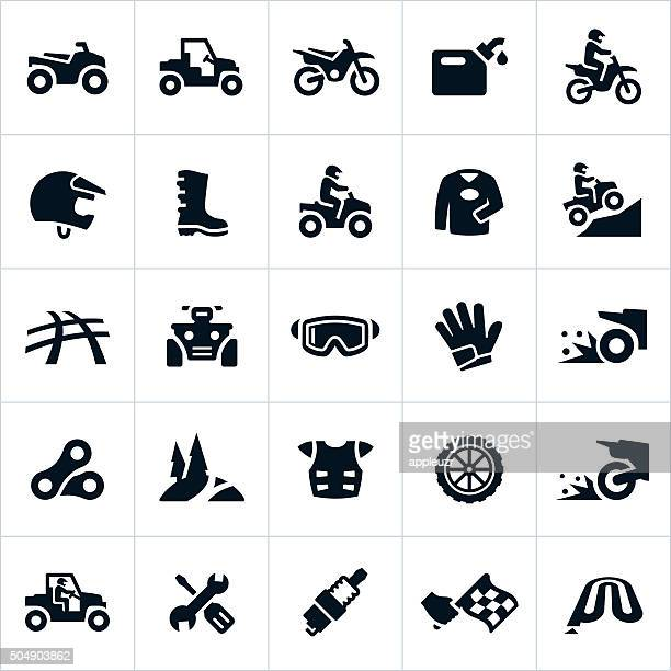 atv, utv and dirt bike icons - wheel stock illustrations, clip art, cartoons, & icons
