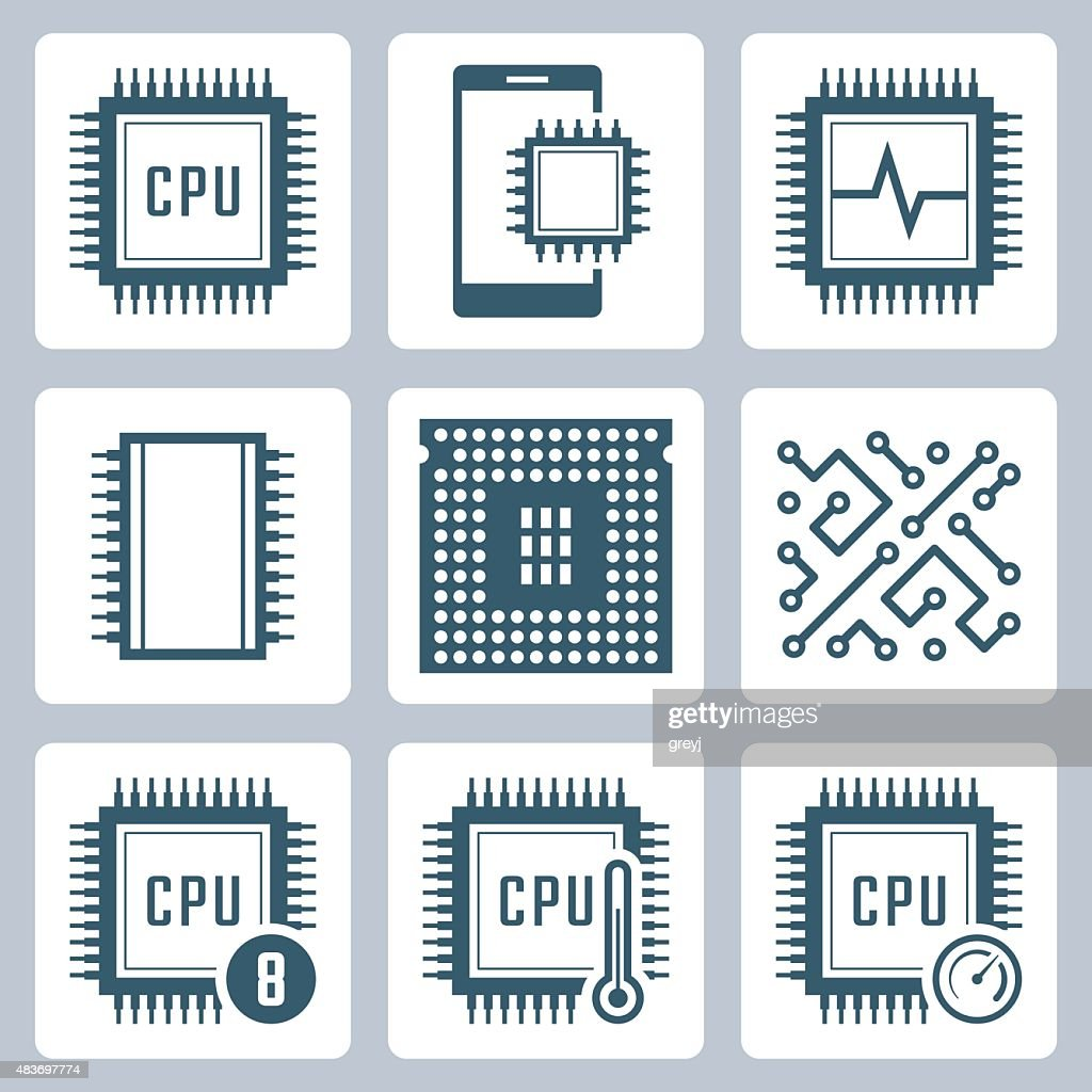 CPU and electronic chip vector icon set