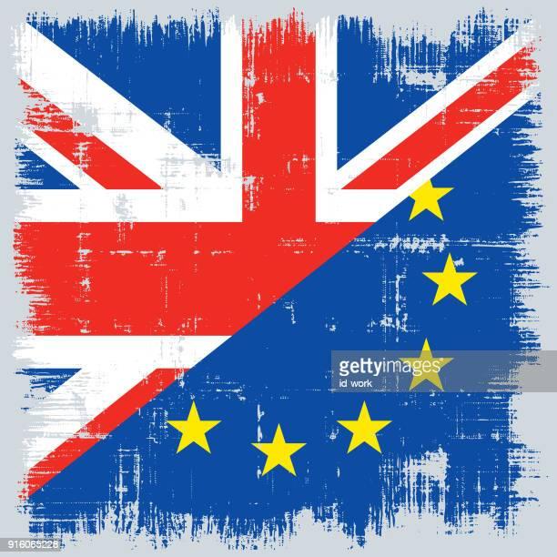 illustrations, cliparts, dessins animés et icônes de drapeau uk et de l'ue avec fond rugueux - brexit