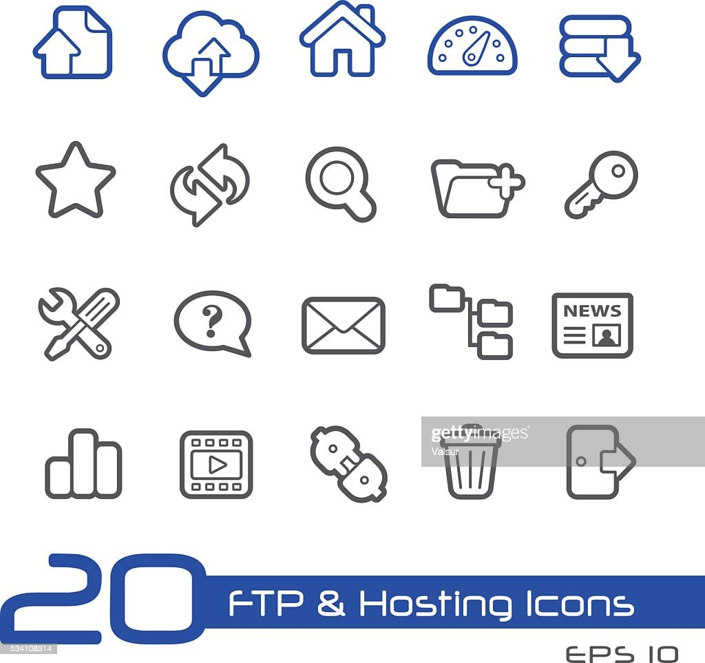 FTP and Hosting Icons // Line Series
