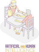 AI and human concept vector isometric illustration