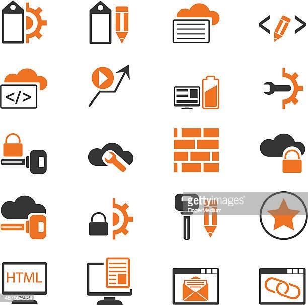 stockillustraties, clipart, cartoons en iconen met seo and internet icon set - vpn