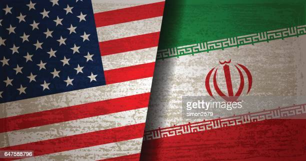 USA and Iran Flag with grunge texture background