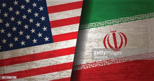 usa und iran fahne mit grunge texturen hintergrund - iran stock-grafiken, -clipart, -cartoons und -symbole