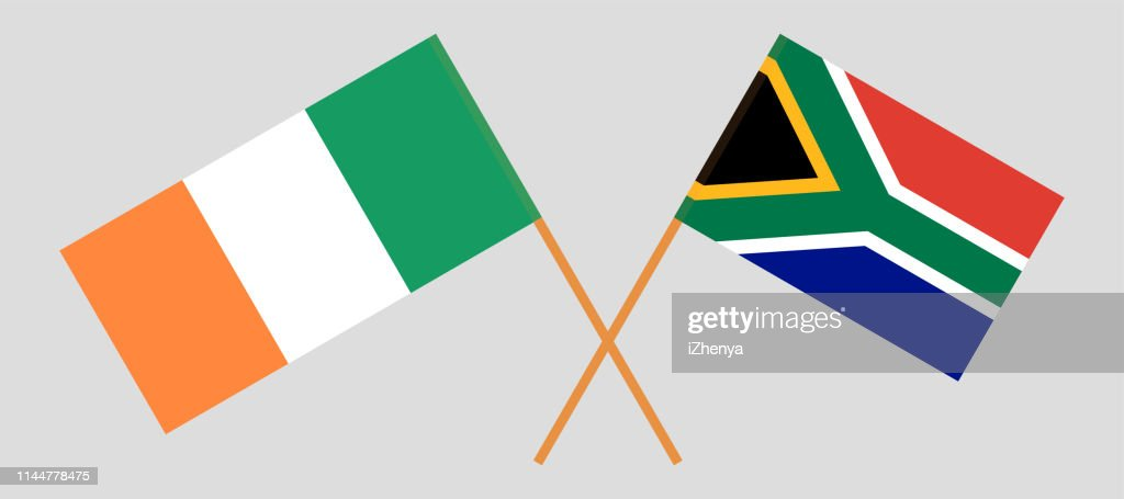 RSA and Ireland. The South African and Irish flags. Official colors. Correct proportion. Vector
