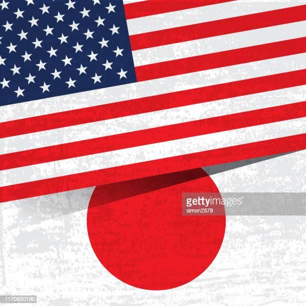 グランジテクスチャの背景を持つ米国と日本の旗。 - フェス点のイラスト素材/クリップアート素材/マンガ素材/アイコン素材