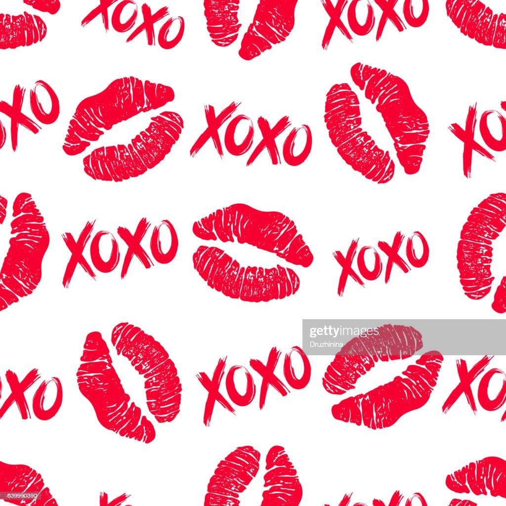 XOXO and lipstick kiss seamless pattern