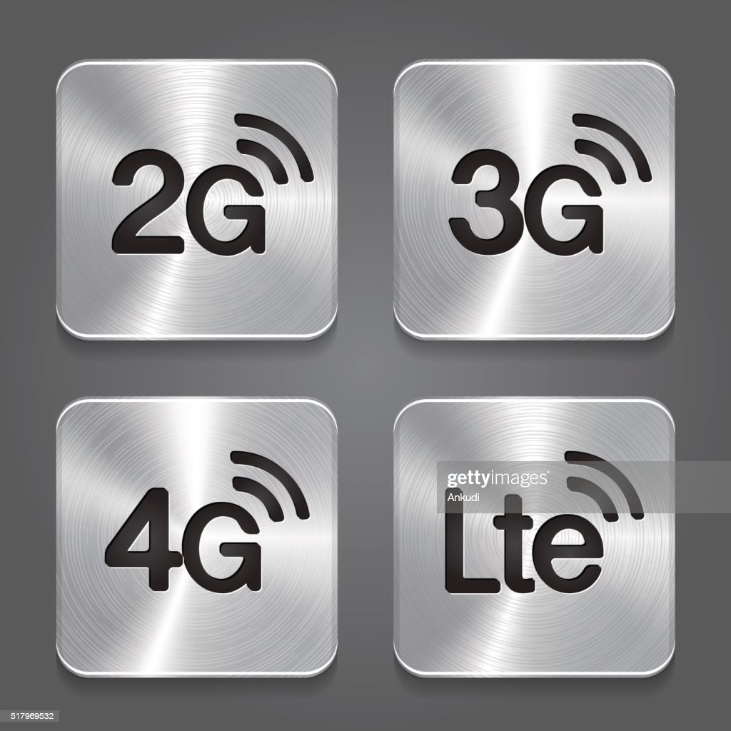 2G, 3G, 4G and LTE technology symbols. Metal button icon