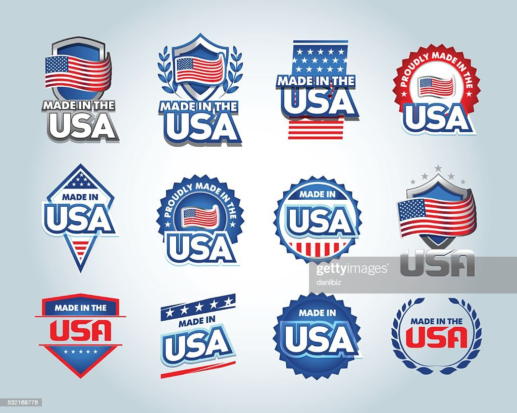USA and made in the USA emblems set.