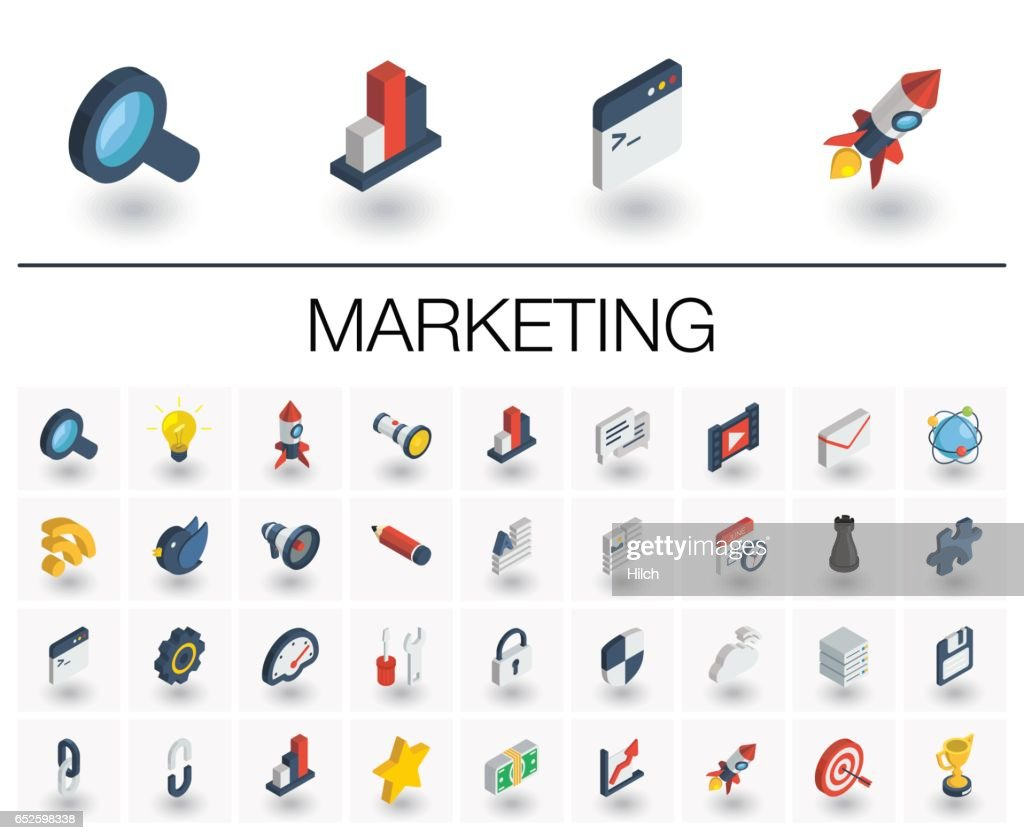 SEO and market analytics isometric icons. 3d vector