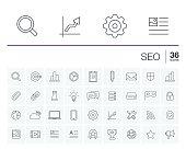 SEO and market analytics vector icons