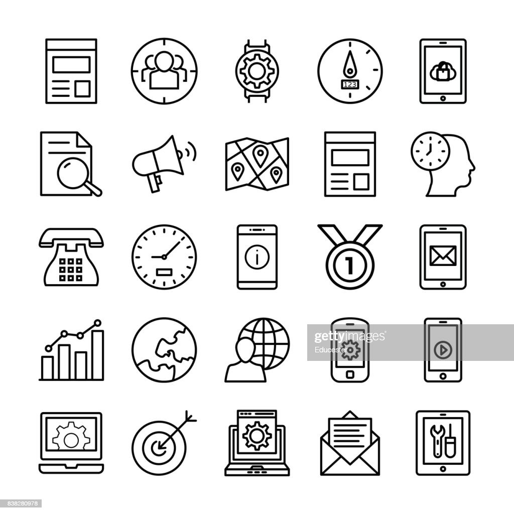 SEO and Marketing Vector Line Icons 2