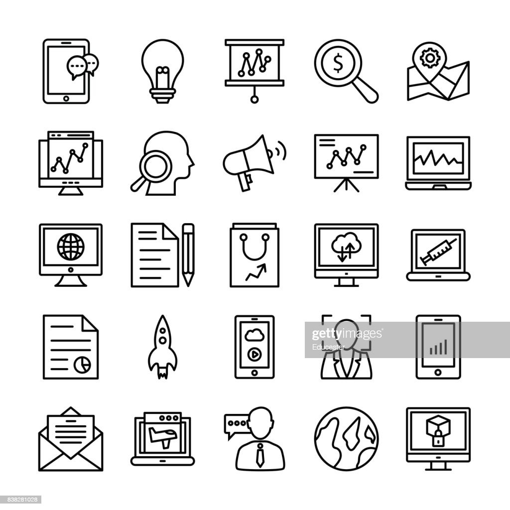 SEO and Marketing Vector Line Icons 4