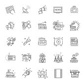 TV and media news vector icons set