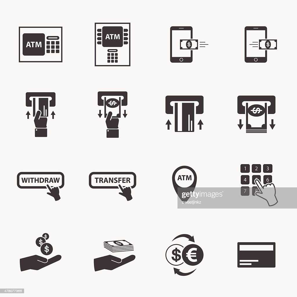 ATM and money business icon set.