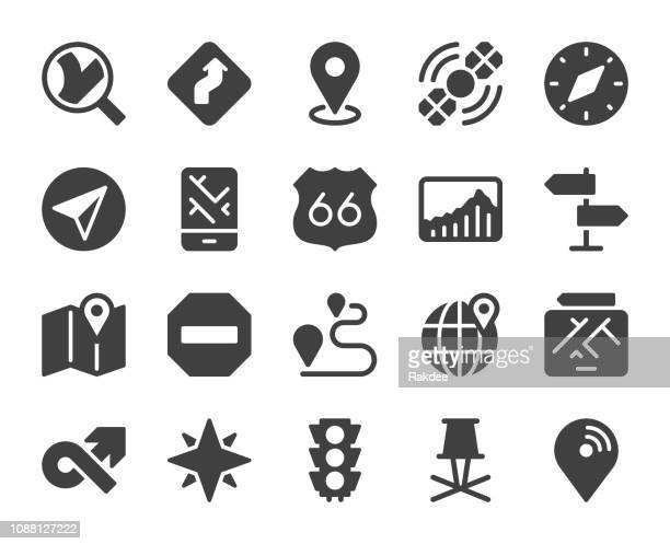 gps and navigation - icons - north star stock illustrations