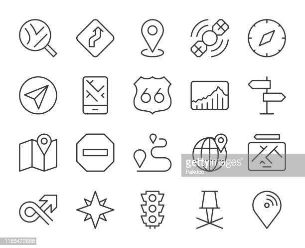 gps and navigation - light line icons - famous place stock illustrations