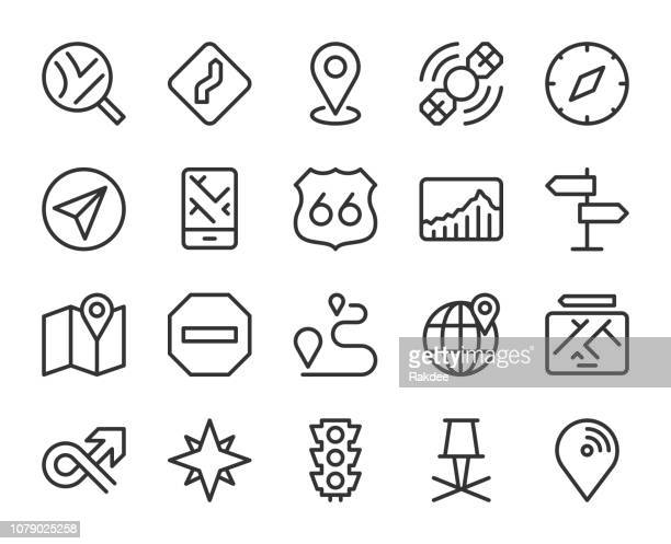 gps and navigation - line icons - north star stock illustrations