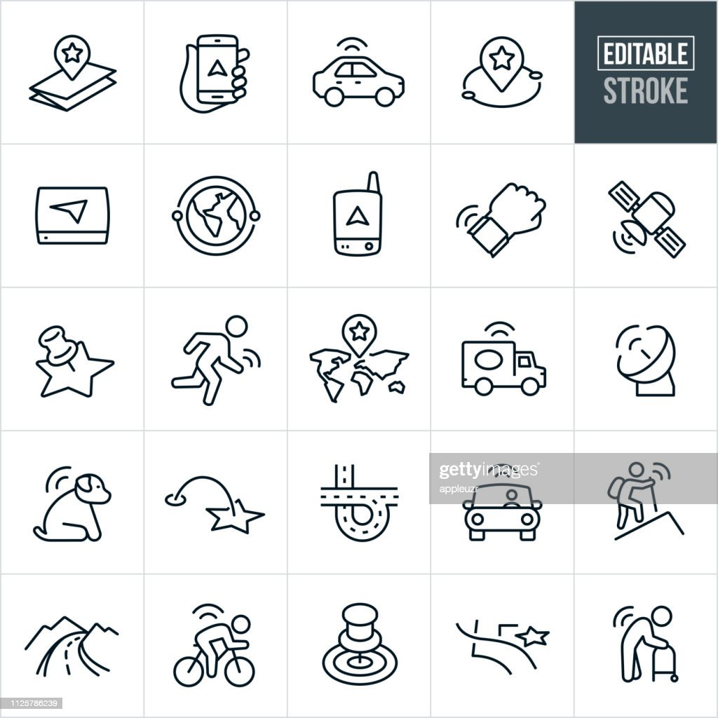 GPS and Navigation Thin Line Icons - Editable Stroke : stock illustration
