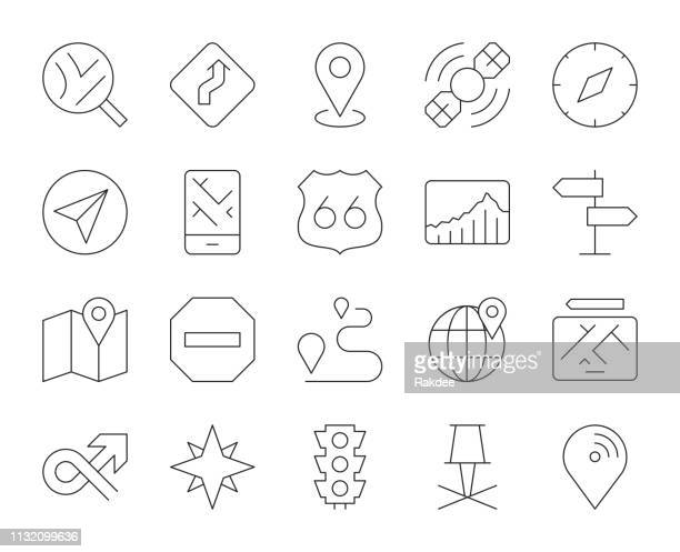 gps and navigation - thin line icons - north star stock illustrations