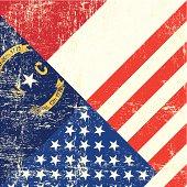 USA and North Carolina grunge Flag