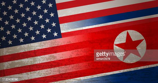 USA and North Korea Flag background