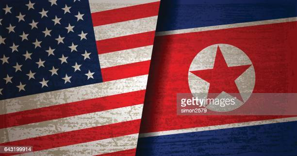 USA and North Korea Flag with grunge texture background