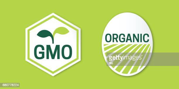 gmo and organic food symbols - genetic modification stock illustrations, clip art, cartoons, & icons