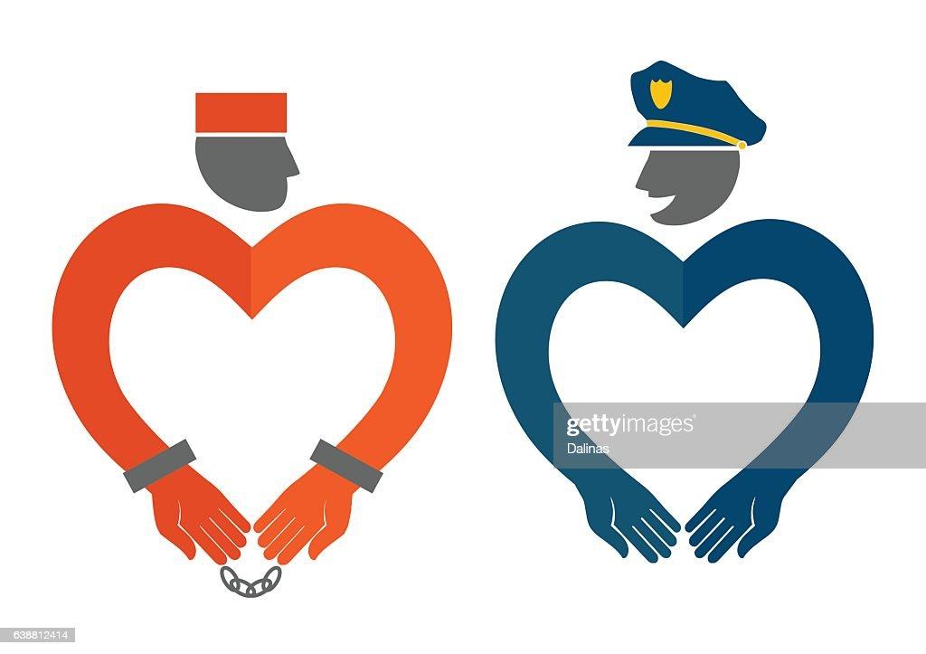 COP and prisoner icons in the form of hearts
