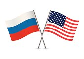USA and Russia flags.