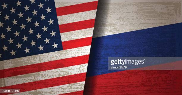 USA and Russian Flag with grunge texture background