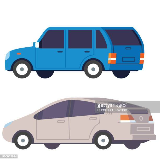 suv and saloon car - compact car stock illustrations, clip art, cartoons, & icons