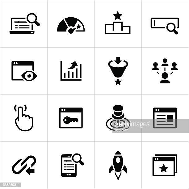 sem and seo icons - online advertising stock illustrations, clip art, cartoons, & icons