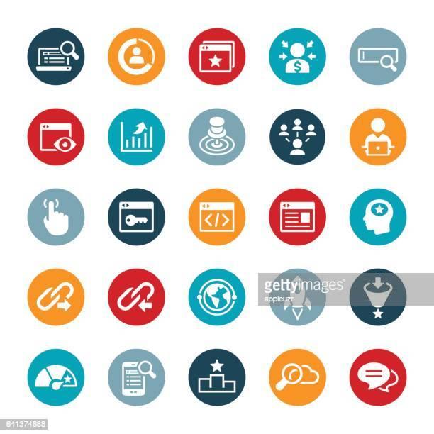 illustrazioni stock, clip art, cartoni animati e icone di tendenza di micrografia elettronica a scansione e icone seo - símbolo conceitual