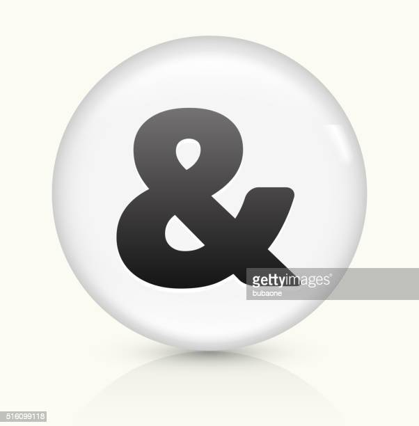 and Sign icon on white round vector button