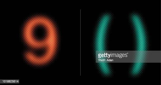 9 und () unterzeichnen (Neon-Halbton-Set)