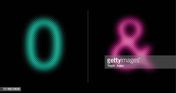 0 and & sign (Neon half tone set)