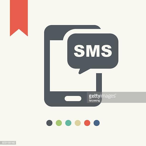 ilustrações, clipart, desenhos animados e ícones de sms e smartphone ícone - mensagem de texto