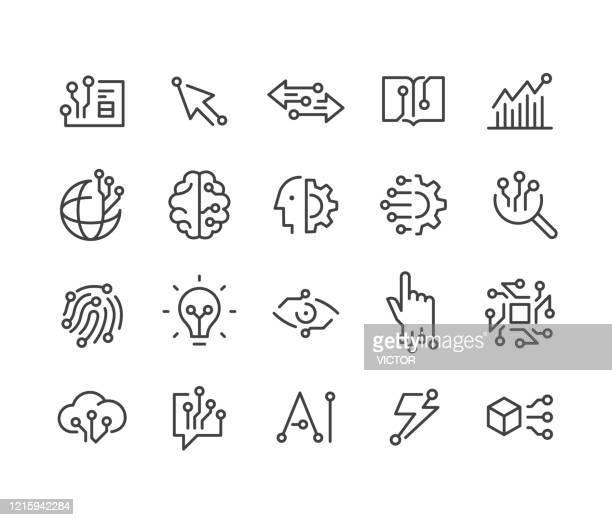 ilustrações de stock, clip art, desenhos animados e ícones de ai and technology icons - classic line series - perícia