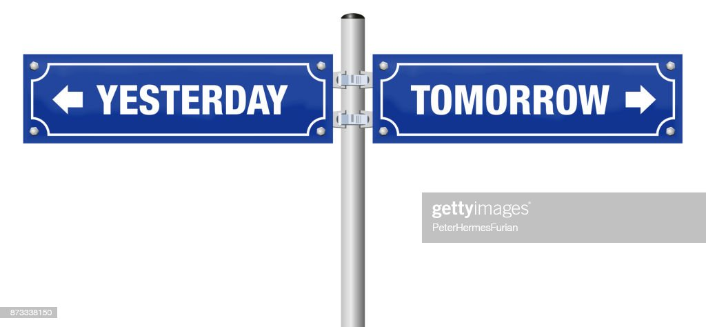 Yesterday And Tomorrow Written On Two Blue Signposts Symbol For