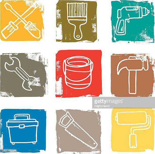 diy and tool grunge icon blocks - hammer stock illustrations