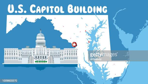 maryland and u.s. capitol building - baltimore maryland stock illustrations, clip art, cartoons, & icons