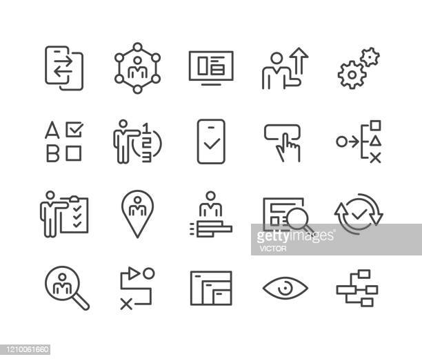 ui and ux icons - classic line series - using phone stock illustrations