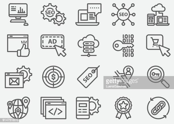 seo and web developer line icons - traffic stock illustrations