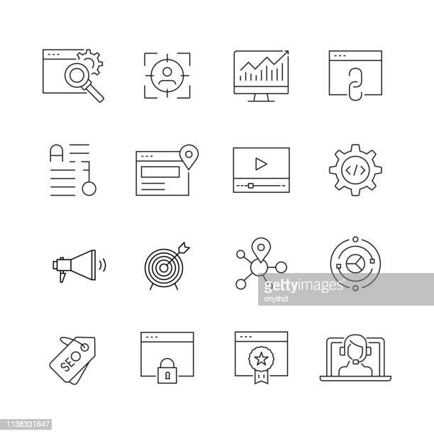 seo and web optimization - set of thin line vector icons - multimedia stock illustrations