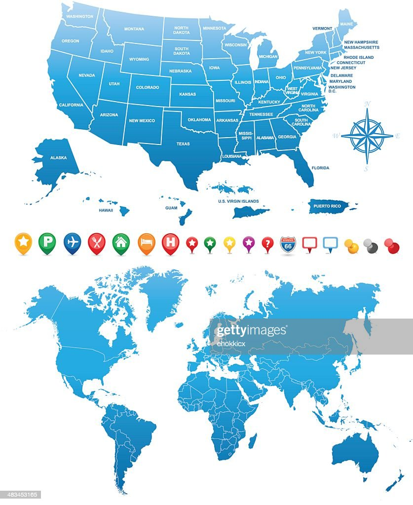 Usa and world maps with gps icons vector art getty images usa and world maps with gps icons gumiabroncs Image collections