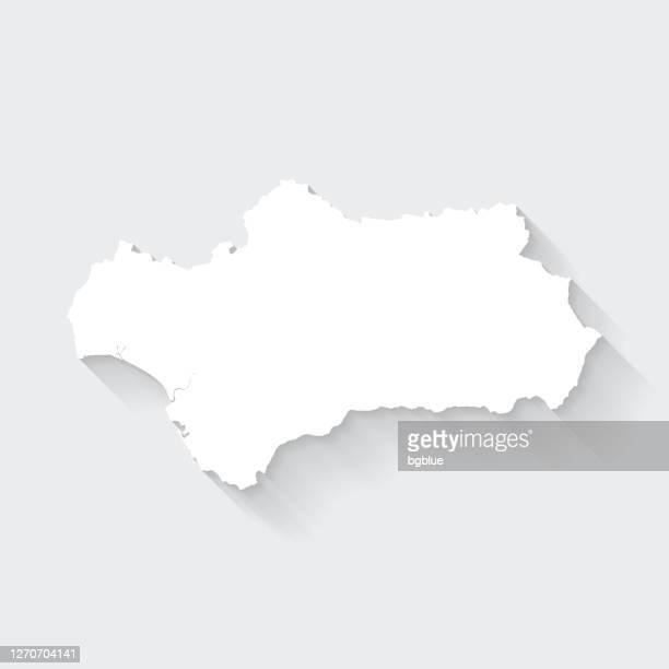 ilustraciones, imágenes clip art, dibujos animados e iconos de stock de mapa de andalucía con sombra larga sobre fondo en blanco - diseño plano - comunidad autónoma de andalucía