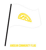 Andean Community (CAN) Flag Waving Vector Illustration on White Background. Nation Flag.