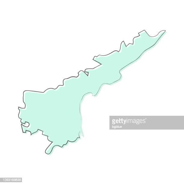 アンドラプラデーシュ州地図は、白い背景に描かれた手 - トレンディなデザイン - アンドラプラデシュ州点のイラスト素材/クリップアート素材/マンガ素材/アイコン素材