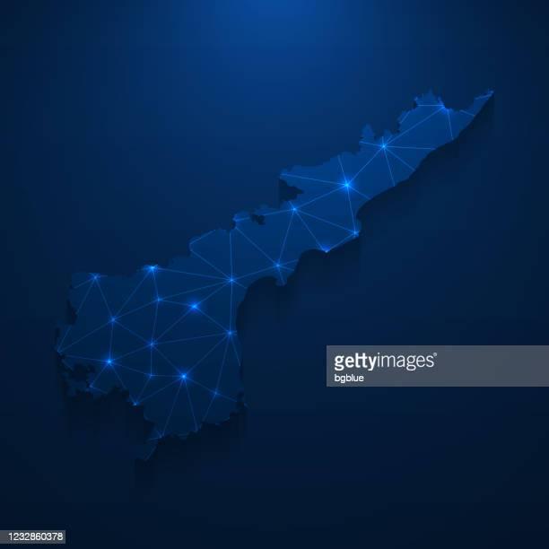 アンドラプラデーシュ州マップネットワーク - ダークブルーの背景に明るいメッシュ - アンドラプラデシュ州点のイラスト素材/クリップアート素材/マンガ素材/アイコン素材